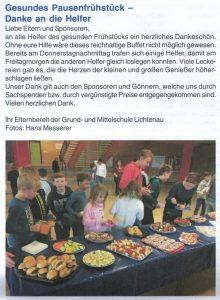 Gesundes Pausenfrühstück 2017 - Bericht im Lichtenauer Amtsblatt 02/2017