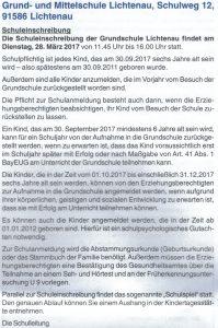 Schuleinschreibung 2017 - Informationen aus dem Lichtenauer Amtsblatt 02/2017