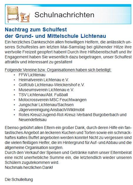 Schulfest 2017 - Nachtrag Amtsblatt Lichtenau