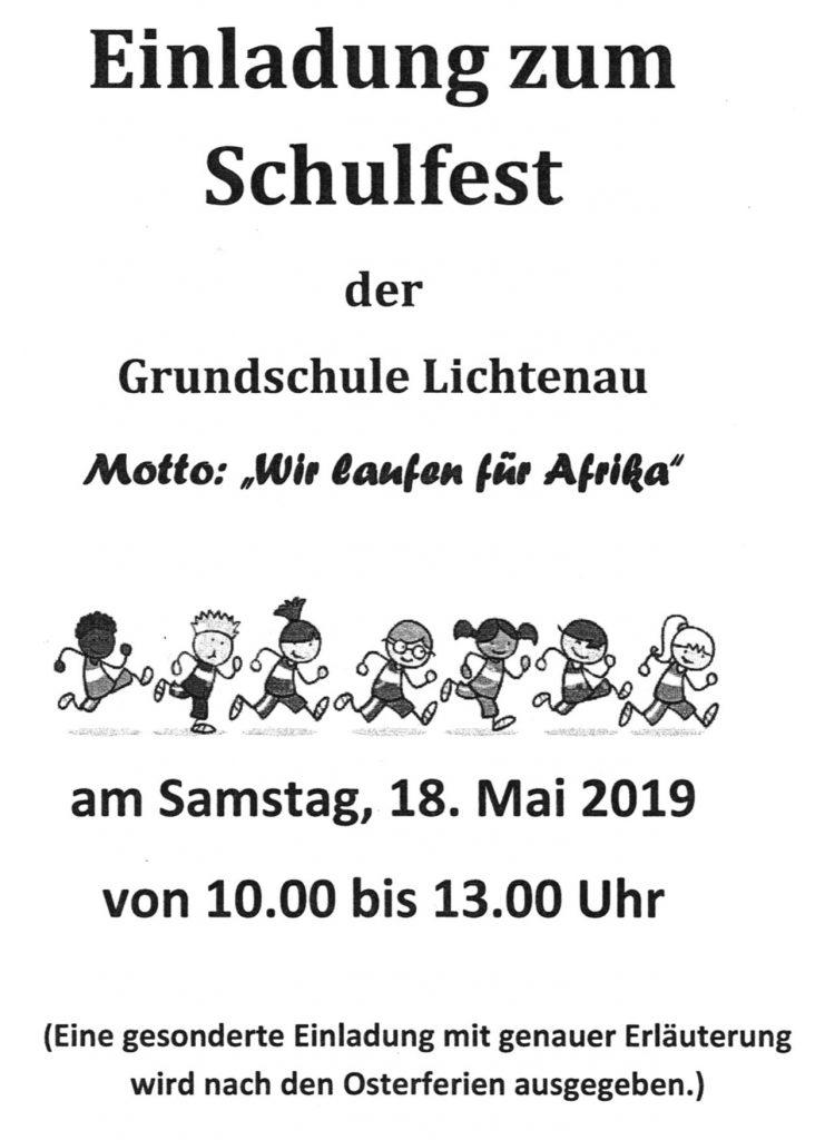 """Schulfest 2019 """"Laufen für Afrika"""""""